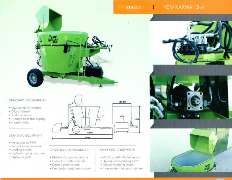 Öz Yeşilyurt STAR 3 - Feed Mixer and Distributing Machine 3 m³ -